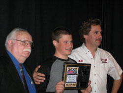 "Frankie received the ""Paul Tyler, Rising Star Award"" by the Motorsports Press Association."