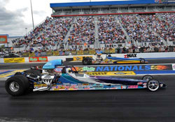 Michelle Furr and her K&N dragster on her way to her first NHRA National Wally in 2011.