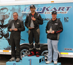 Superkarts USA ProKart Challenge South Series Podium for FX Team Driver Steve Wiener at CalSpeed in Fontana, California