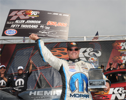 Pro Stocker Allen Johnson won the 2008 K&N Horsepower Challenge