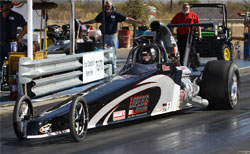 Sheldon Gecker steps away from his normal 8.90 class to try his hand at bracket racing in Top Dragster for the first time at a recent IHRA event. Photo by IHRA Communications/IHRA.com.