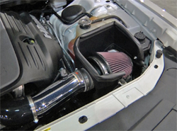 K&N air intake system, part number 69-2526TP on 2009 Dodge Challenger at SEMA Show