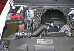 63-3067 K&N air intake system installed in a 2007 Chevrolet 2500 HD with a 6.0 liter engine