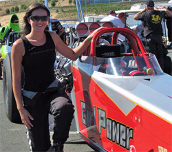 Melissa Westerman is currently 2nd overall in points in the Nor Cal Top Dragster Association Series