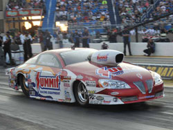 Greg Anderson went on to win the O'Reilly Route 66 NHRA Nationals