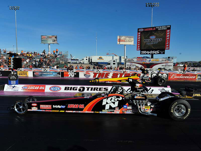 Greg Boutte drives the K&N sponsored NHRA Super Comp dragster