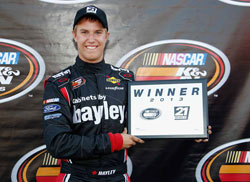 Cameron Hayley wins the pole in the NASCAR K&N Pro Series West race at Spokane County Raceway.