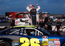 Greg Pursley wins third NASCAR K&N Pro Series West race of the season at Spokane County Raceway.