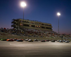 NASCAR K&N Pro Series West racing under the lights during the Armed Forces 150 at Kern County Raceway