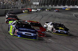 Greg Pursley battles to win the Southern California Toyota Dealers 200