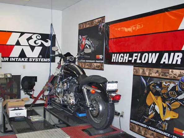 Harley Davidson on one of K&N's dynos