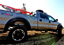 Ford F-150 FX4 Baja Chase Support truck is ready to traverse rough terrain and intercept supported riders for refueling and tire changes