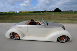 Mitch Henderson's most well known project is Suicide Blonde, a 1937 Ford Roadster
