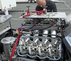Biggest engine in the Pacific Street Car Association is a Sonny Leonard Chrysler hemi type head adapted to a Chevrolet with a new 711 cubic inch Chevy engine