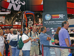 Die Cast car collectors waited in line at SEMA to get a K&N Hot Wheels 1970 Plymouth Barracuda by Mattel designer Jerry Thienprasiddhi