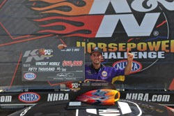Vincent Nobile Wins 2012 K&N Horsepower Challenge at the Summit Racing Equipment NHRA Nationals in Norwalk, Ohio taking home $50,000