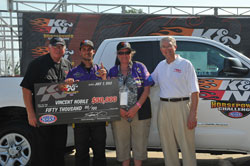Vincent and Sweepstakes Winner Peggy Coleman, with Don Brown and Don Cecconi from Toyota