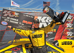 Jeg Coughlin Jr. beat the best drivers in Pro Stock and collected a $50,000 top prize, a trophy and a ring. In the 2009 K&N Horsepower Challenge final, he bested longtime rival Greg Anderson.