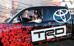 Eva Mack wins 2016 TRD Toyota Tacoma as the winner of the K&N Horsepower Challenge Sweepstakes
