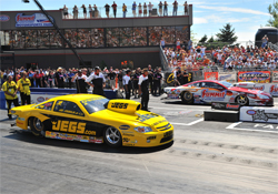 Jeg Coughlin and Greg Anderson face off in the final round of eliminations in the K&N Horsepower Challenge at the NHRA Full Throttle Drag Racing Series in Norwalk, Ohio