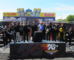 Top eight NHRA Pro Stock drivers on the podium in the 25th annual K&N Horsepower Challenge in Norwalk, Ohio