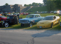 2009 Hot Rod Power Tour cars line up at a stop on the seven day trek