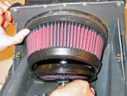 Air Filter Installed in Husqvarna motorcycle