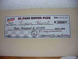 Big-Money bracket racing offers big checks to the winner, this one belonged to Michael's talented son Ryan.