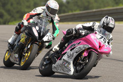 LTD Racing's Nash rode a pink bike in order to raise awareness for breast cancer research.