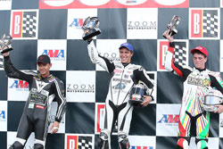 LTD Racing held two podium spots, with Tomas Puerta, Huntley Nash, and ex-LTD racer, Joey Pascarella (left to right).