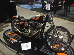 The Roland Sands K&N Custom Softail receives a lot of attention when on display at the International Motorcycle Shows.