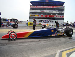 Jacob taking his turn earlier this season in the team's Top Dragster at Indy.
