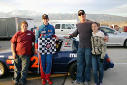 Kyle Eggleton (Crew Chief), Jacob and Rich Pearlman (father) and Kate Pearlman (sister)