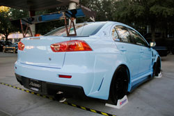 Aeromotion R2 Static Wing on Lancer Evolution at SEMA
