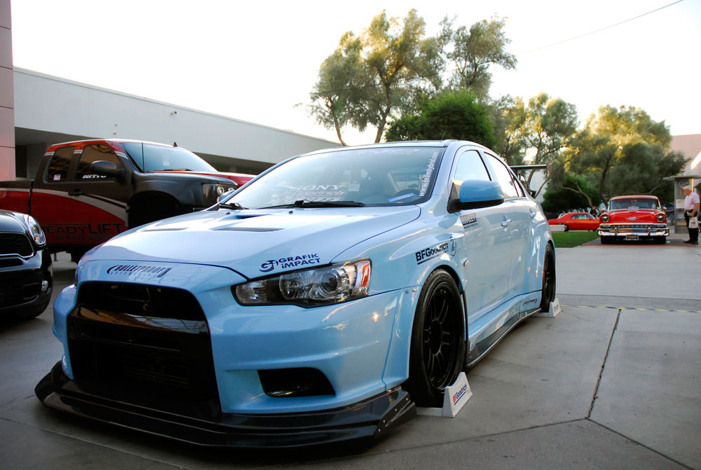 team hybrid mitsubishi evo x at sema
