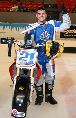 World Champion Ice Racer Jared Mees wins the opening round in the 34th Annual World Championship Ice Racing Series in Roanoke, Virginia