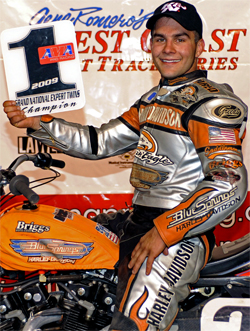 AMA Grand National Dirt Track Racing Champion Jared Mees on the podium at Pomona, California