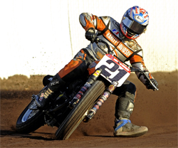 Harley Davidson XR750 Dirt Tracker and rider Jared Mees