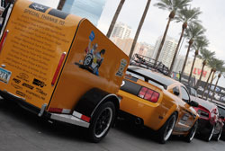 Ford Mustang GT with trailer at SEMA