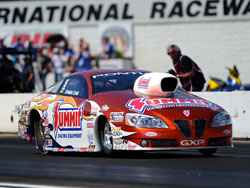 The Summit Racing Pontiac at the 30th annual Lucas Oil NHRA Nationals at Brainerd International Raceway.