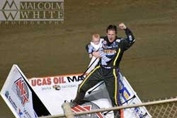 After his four round sweep of the Cocopah Cup Challenge Jason Johnson and son Jaxx celebrated together in victory lane