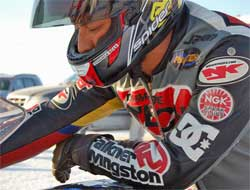 Jason McVicar may be the fastest motorcycle crash survivor on record. He was going 243 mph during Speed Week at Bonneville.