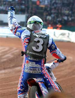 Jason Crump is second overall in the 2008 Grand Prix World Championship Standings after ten rounds