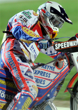 Aussie Jason Crump battles through the pain barrier at the World Speedway Grand Prix in Terenzano, Italy. Crump had skin graft surgery a few weeks before the race.