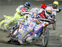 Jason Crump. Freddie Lindgren, Kenneth Bjerre and Andreas Jonsson fight for points in the opening round of the 2009 World Speedway Grand Prix