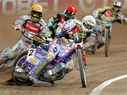 Jason Crump, Fredrik Lindgren, Greg Hancock and Hans Andersen battle in front of a capacity crowd at Millennium Stadium in Cardiff