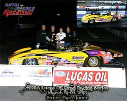 NHRA Lucas Oil Drag Racing Series Super Gas Winner Jeff Lopez
