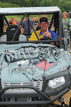Jeremiah was all smiles as he crawled into his new custom built side-x-side for the first time.