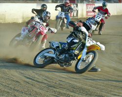 K&N's Jeremy Templeman won the 2013 SCFTA Open Novice Championship in his first year of flat track racing at Perris Raceway. (Photo credit to Don Walters of DW Media Services)