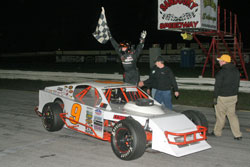 Jeriod taking the checkered flag at Sandusky Speedway.